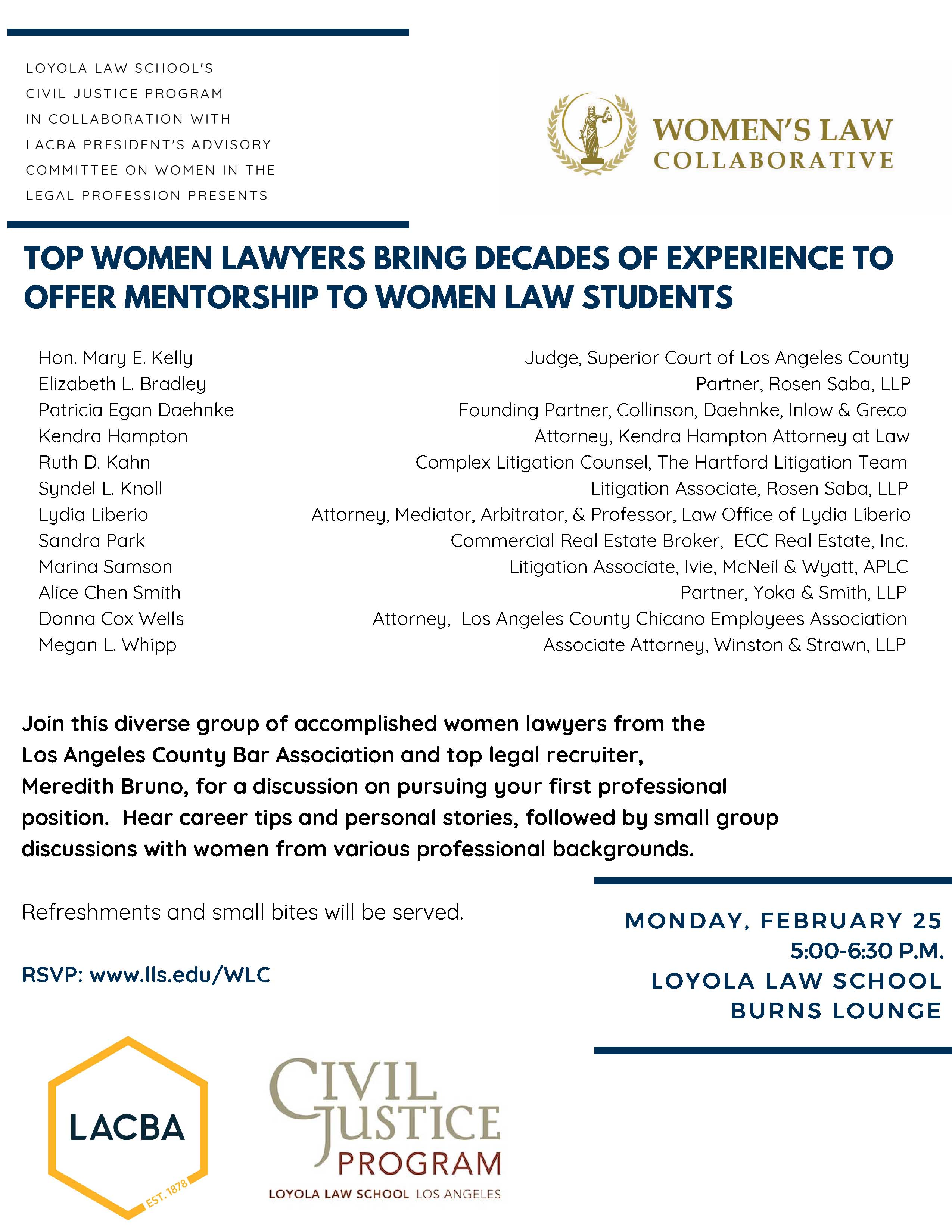 President's Advisory Committee on Women in the Legal Profession Event Flyer