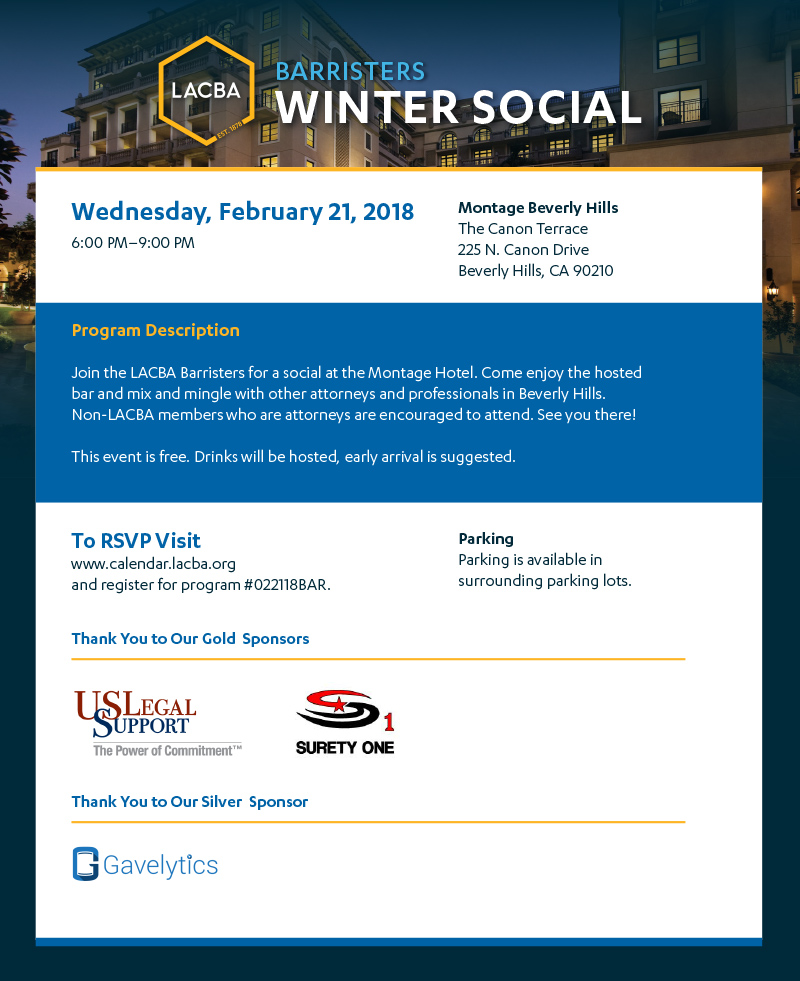 Barristers Winter Social 2 21 18