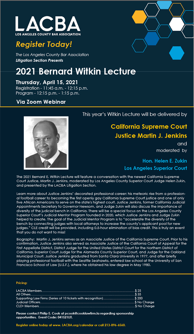 2021 Bernard Witkin Lecture Flyer
